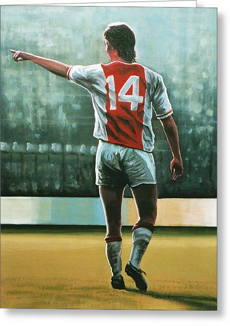 Johan Cruijff Nr 14 Painting Greeting Card by Paul Meijering