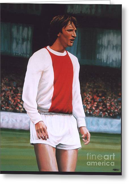 D Greeting Cards - Johan Cruijff  Greeting Card by Paul Meijering
