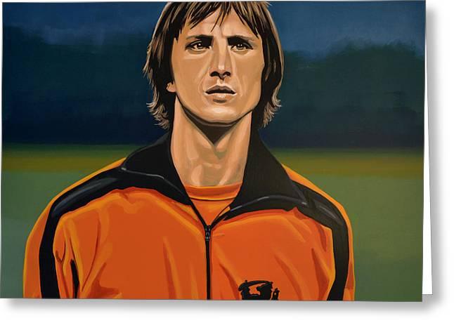 Johan Greeting Cards - Johan Cruyff Oranje Greeting Card by Paul  Meijering