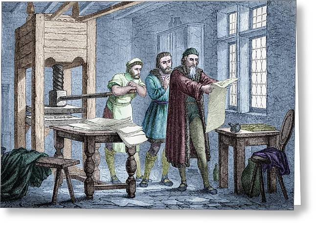 Johann Gutenberg Greeting Card by Michael Marten