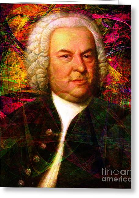 Johann Sebastian Bach Greeting Cards - Johann Sebastian Bach 20140126v1 Greeting Card by Wingsdomain Art and Photography