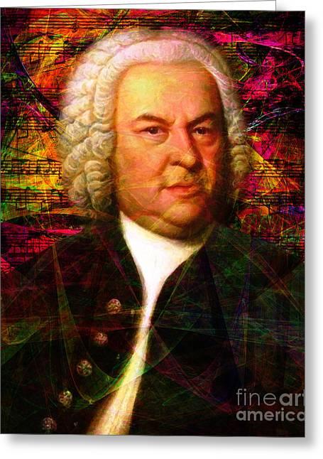 Johann Sebastian Bach Greeting Cards - Johann Sebastian Bach 20140126v2 Greeting Card by Wingsdomain Art and Photography