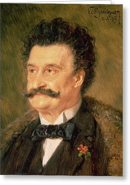 Fur Coat Greeting Cards - Johann Strauss The Younger, 1895 Greeting Card by Eduard Grutzner