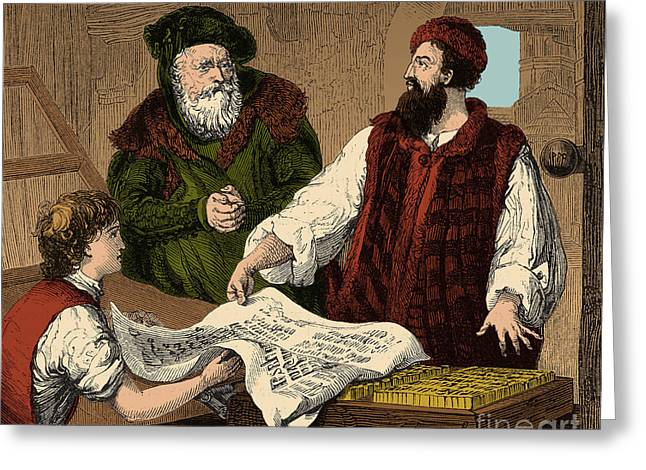 Mechanical Revolution Greeting Cards - Johannes Gutenberg, German Publisher Greeting Card by Photo Researchers