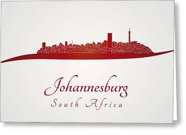 Johannesburg Greeting Cards - Johannesburg skyline in red Greeting Card by Pablo Romero