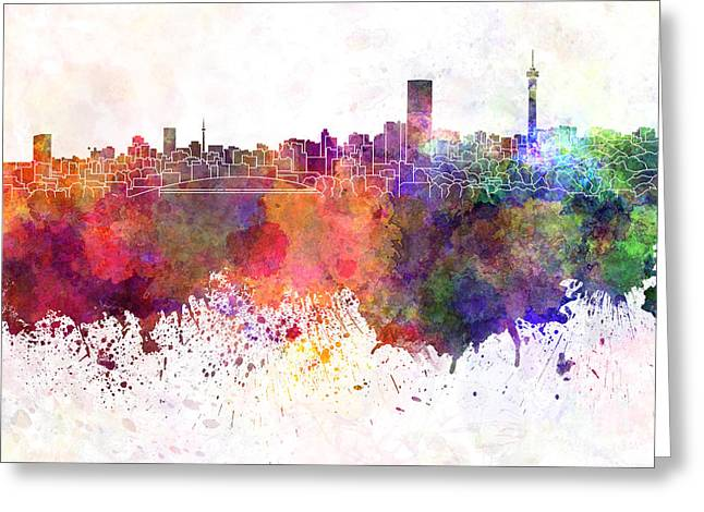 Johannesburg Greeting Cards - Johannesburg skyline in watercolor background Greeting Card by Pablo Romero