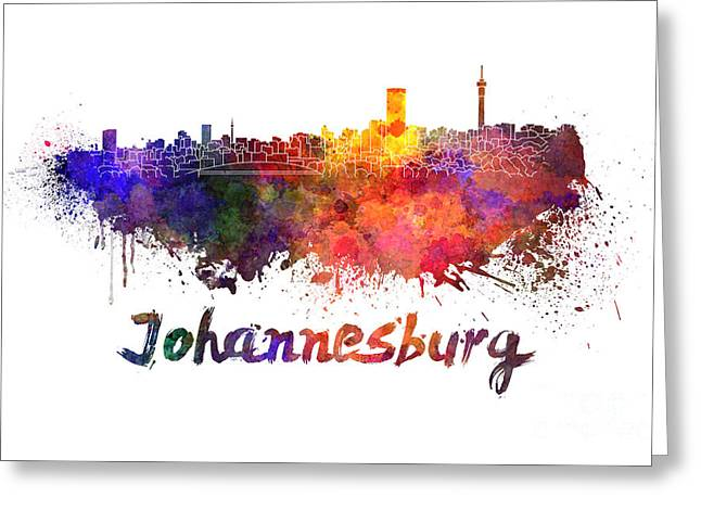 Johannesburg Greeting Cards - Johannesburg skyline in watercolor Greeting Card by Pablo Romero