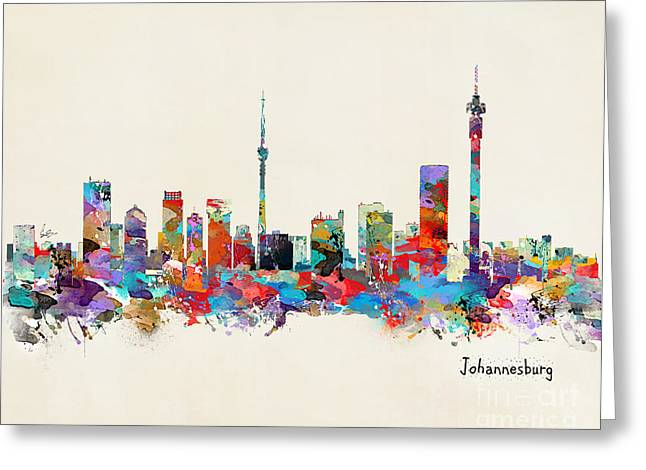 Johannesburg Greeting Cards - Johannesburg south Africa skyline Greeting Card by Bri Buckley