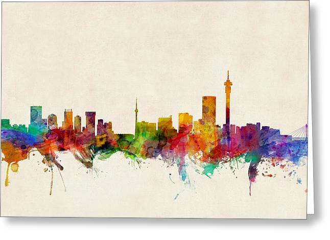 Skyline Greeting Cards - Johannesburg South Africa Skyline Greeting Card by Michael Tompsett