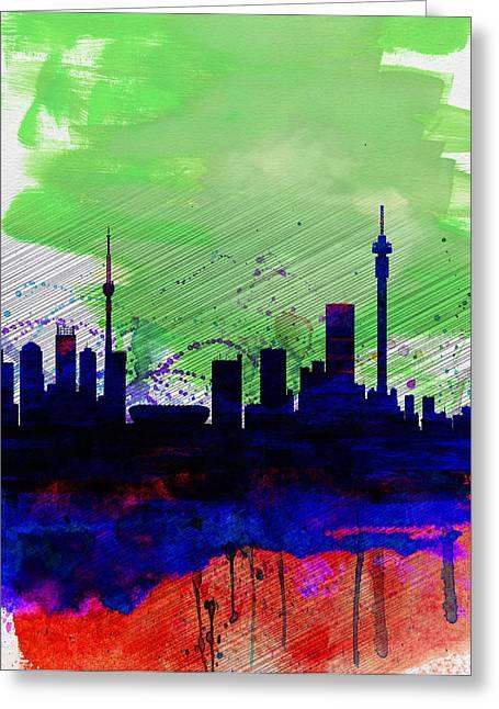 Johannesburg Greeting Cards - Johannesburg Watercolor Skyline Greeting Card by Naxart Studio