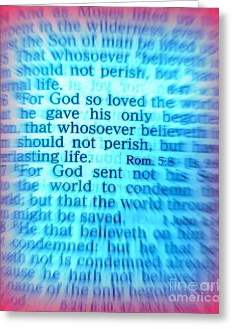 King James Version Greeting Cards - John 3 16 KJV Holy Bible Greeting Card by Roberto Gagliardi