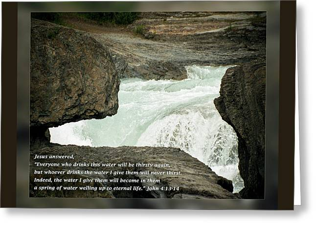 Eternal Inspirational Greeting Cards - John 4 13-14 Greeting Card by Dawn Currie