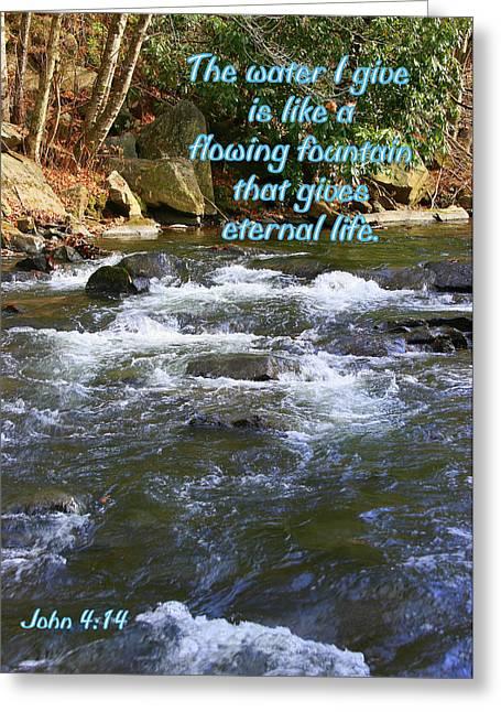 Bible Greeting Cards - John 4 14 Greeting Card by Paula Tohline Calhoun