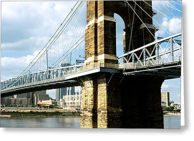 River Photography Greeting Cards - John A. Roebling Suspension Bridge Greeting Card by Panoramic Images