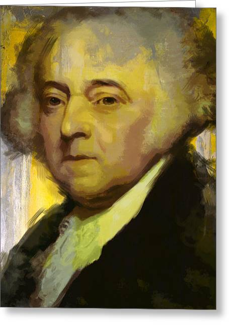 Global Greens Greeting Cards - John Adams Greeting Card by Corporate Art Task Force