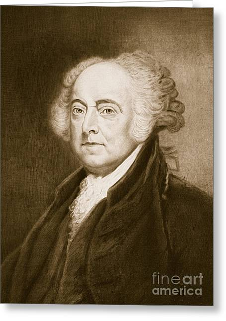 Us History Drawings Greeting Cards - John Adams Greeting Card by George Healy