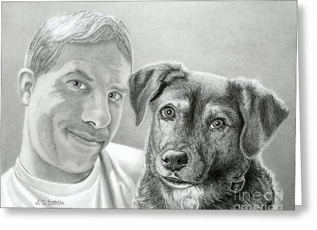 Photo Realism Drawings Greeting Cards - John And Howie Greeting Card by Sarah Batalka