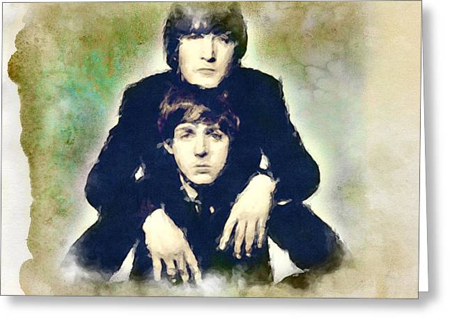 John And Paul Greeting Card by Paulette B Wright