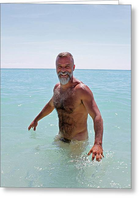 Beard Photographs Greeting Cards - John at the Beach 1 Greeting Card by Chris  Lopez
