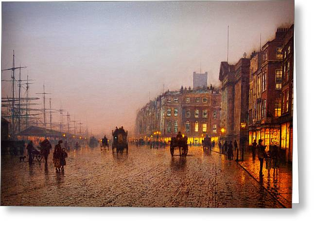 Bondone Greeting Cards - John Atkinson Grimshaw Liverpool from Wapping 1885 Greeting Card by MotionAge Designs