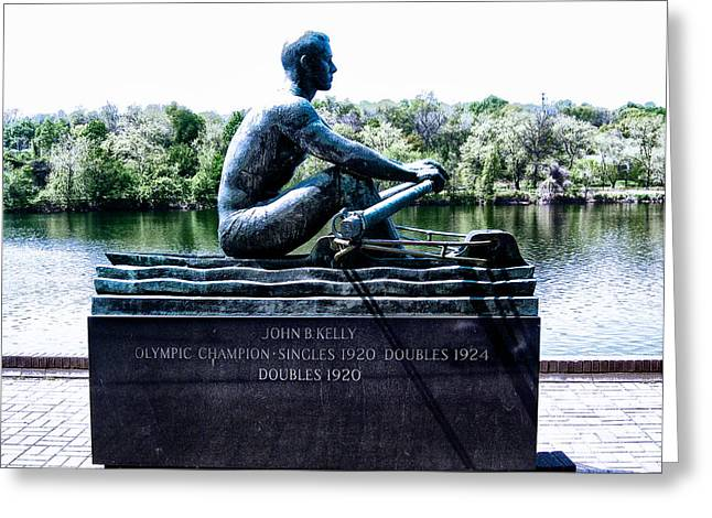 Kelly Drive Digital Art Greeting Cards - John B Kelly Statue Philadelphia Greeting Card by Bill Cannon