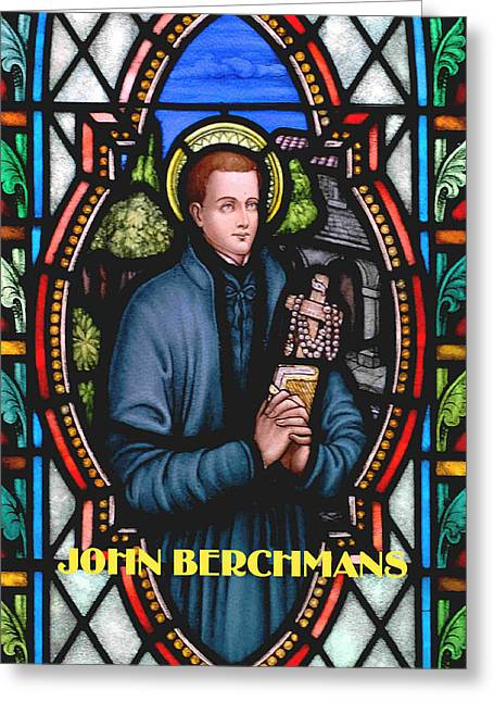 John Berchmans In Stained Glass Greeting Card by Philip Ralley