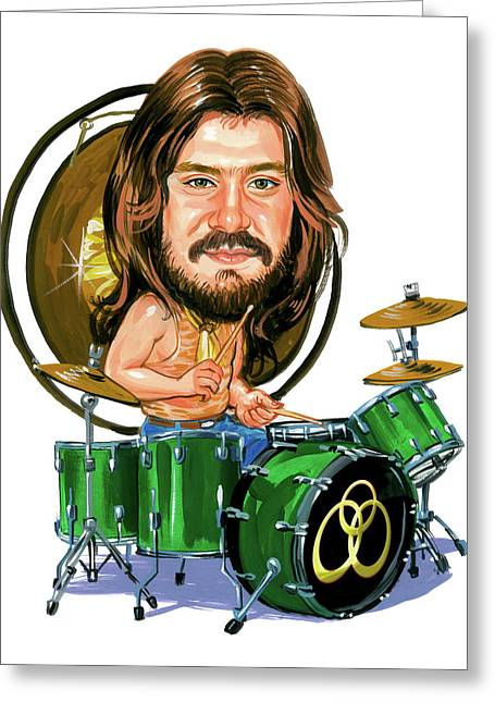 Caricatures Greeting Cards - John Bonham Greeting Card by Art