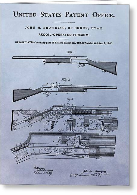 Marksman Greeting Cards - John Browning Firearm Patent Greeting Card by Dan Sproul
