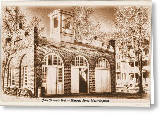John Browns Fort - Harpers Ferry West Virginia - Modern Day Sepia Greeting Card by Michael Mazaika