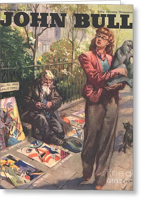 Sidewalk Drawings Greeting Cards - John Bull 1946 1940s Uk  Pavement Greeting Card by The Advertising Archives
