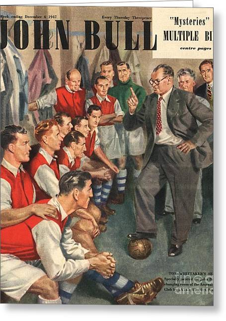 Soccer Drawings Greeting Cards - John Bull 1947 1940s Uk  Arsenal Greeting Card by The Advertising Archives