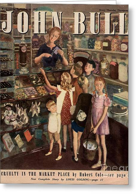 Candy Drawings Greeting Cards - John Bull 1947 1940s Uk Sweet Shops Greeting Card by The Advertising Archives