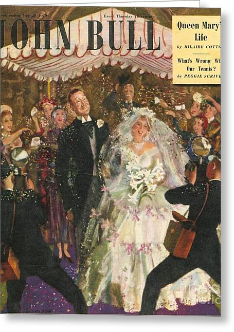 With Love Drawings Greeting Cards - John Bull 1949 1940s Uk Love Marriages Greeting Card by The Advertising Archives