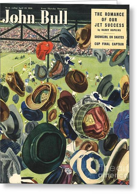 Soccer Drawings Greeting Cards - John Bull 1950 1950s Uk Football Hats Greeting Card by The Advertising Archives