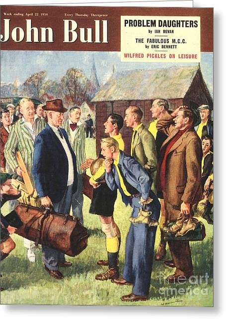 Soccer Drawings Greeting Cards - John Bull 1950s Uk Football Cricket Greeting Card by The Advertising Archives