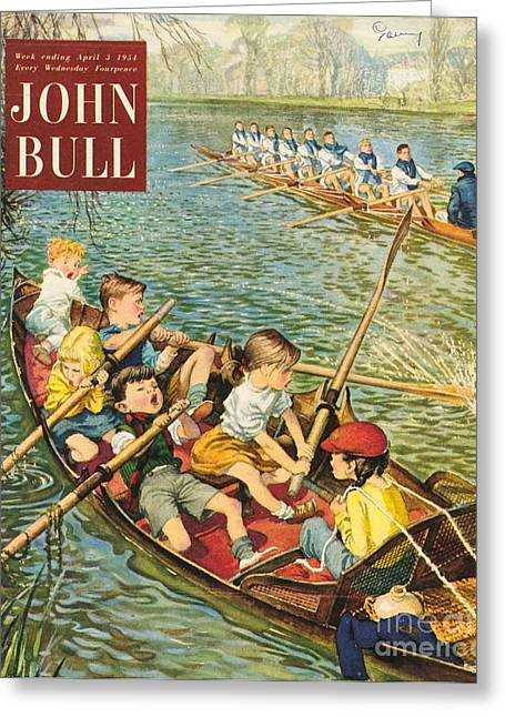 Twentieth Century Greeting Cards - John Bull 1950s Uk Rowing Training Greeting Card by The Advertising Archives