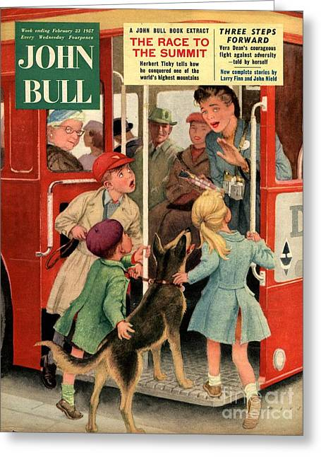 John Bull 1957 1950s Uk Dogs Buses Greeting Card by The Advertising Archives