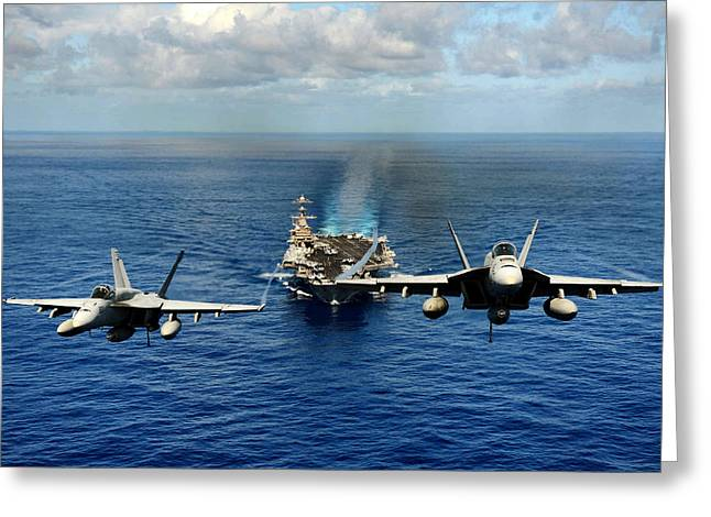 Naval Aircraft Greeting Cards - John C. Stennis Carrier Strike Group Greeting Card by Mountain Dreams