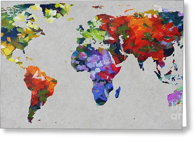 Abstract World Map Greeting Cards - John Clark 4  World Map Greeting Card by John Clark