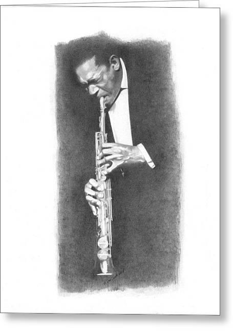 African-american Drawings Greeting Cards - John Coltrane Greeting Card by Gordon Van Dusen
