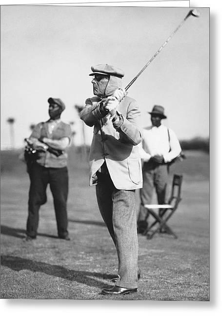 John D. Rockefeller Golfing Greeting Card by Underwood Archives