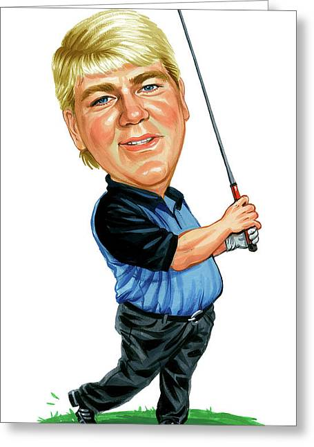 Caricature Paintings Greeting Cards - John Daly Greeting Card by Art