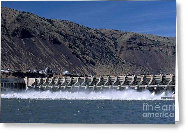 John Day Dam Greeting Card by William H. Mullins