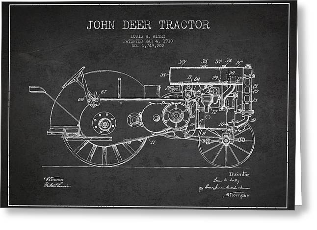 Old Tractors Greeting Cards - John Deer Tractor Patent drawing from 1930 - Dark Greeting Card by Aged Pixel