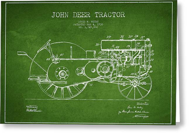 Old Tractors Greeting Cards - John Deer Tractor Patent drawing from 1930 - Green Greeting Card by Aged Pixel