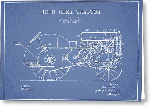 Old Tractors Greeting Cards - John Deer Tractor Patent drawing from 1930 - Light Blue Greeting Card by Aged Pixel