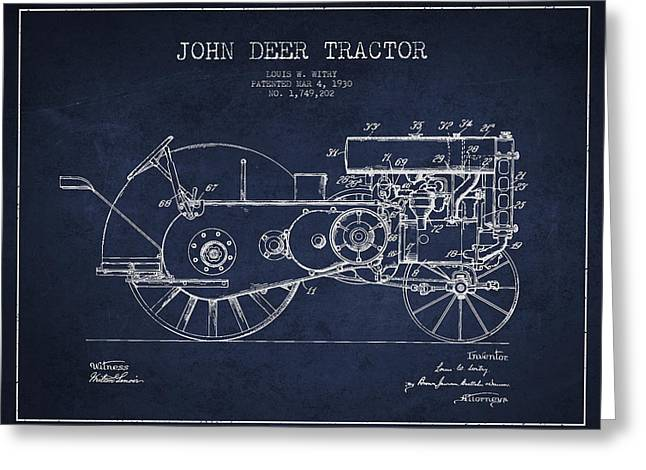 Old Tractors Greeting Cards - John Deer Tractor Patent drawing from 1930 - Navy Blue Greeting Card by Aged Pixel