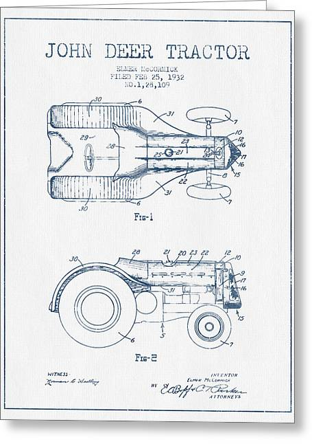 Old Tractors Greeting Cards - John Deer Tractor Patent drawing from 1932- Blue Ink Greeting Card by Aged Pixel