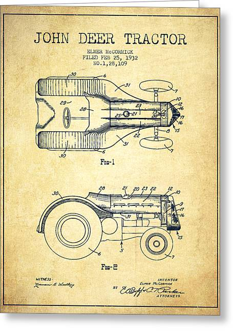 Old Tractors Greeting Cards - John Deer Tractor Patent drawing from 1932 - Vintage Greeting Card by Aged Pixel