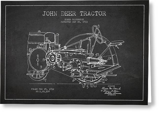 Antique Equipment Greeting Cards - John Deer Tractor Patent drawing from 1933 Greeting Card by Aged Pixel